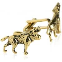 Howling Wolf Gold Animal  Cufflinks