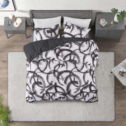 CosmoLiving Anaya Black/ White Cotton Printed Duvet Cover Set
