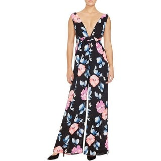 Aqua Womens Jumpsuit Floral Print Sleeveless