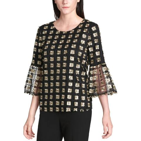 Calvin Klein Womens Blouse Embroidered Mesh