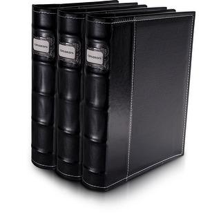 Bellagio-Italia Black Leather CD/DVD Binder 3 pack