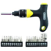 General 70211 Ratcheting Multi-Bit T-Handle Screwdriver, 20 Piece