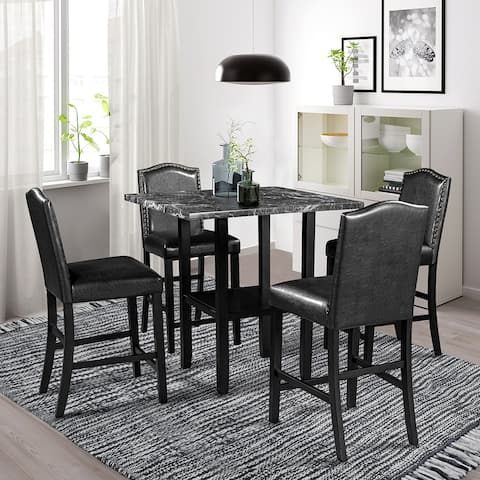 Dining Room 5 Piece Dining Set with Matching Chairs and Bottom Shelf