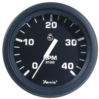 Heavy-Duty Black 4Inch Tachometer (4000 RPM) (Diesel) (Alternator/Pulse Pick-Up) Tachometer