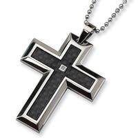 Chisel Diamond and Black Carbon Fiber Stainless Steel Cross on 24 Inch Bead Chain (2 mm) - 24 in