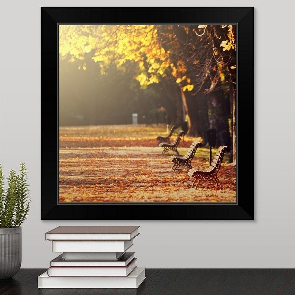 """Park alley in fall, four empty benches, golden and fallen leaves in soft sunlight."" Black Framed Print"