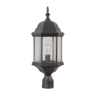 """Craftmade Z695 Hex Style Cast Single Light 9-1/2"""" Wide Landscape Single Head Post Light with Clear Seeded Glass