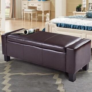 Costway PU Leather Ottoman Bench Storage Chest Footstool Organizer Chair Furniture Brown