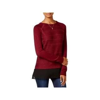 BCX Womens Juniors Pullover Sweater Metallic Layered