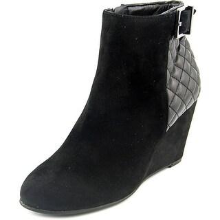 BCBGeneration Wright Women Open Toe Suede Black Wedge Heel