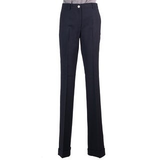 Miu Miu Navy Blue Wool Tonal Stitched High Waist Cuffed Pants