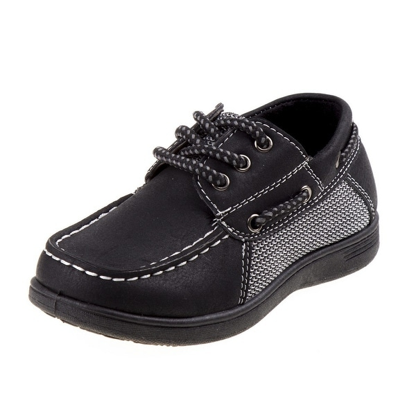 Shop Boys Black Lace-Up Cushioned Footbed Boat Casual Shoes - Free Shipping  On Orders Over  45 - Overstock.com - 27193615 2638b292191