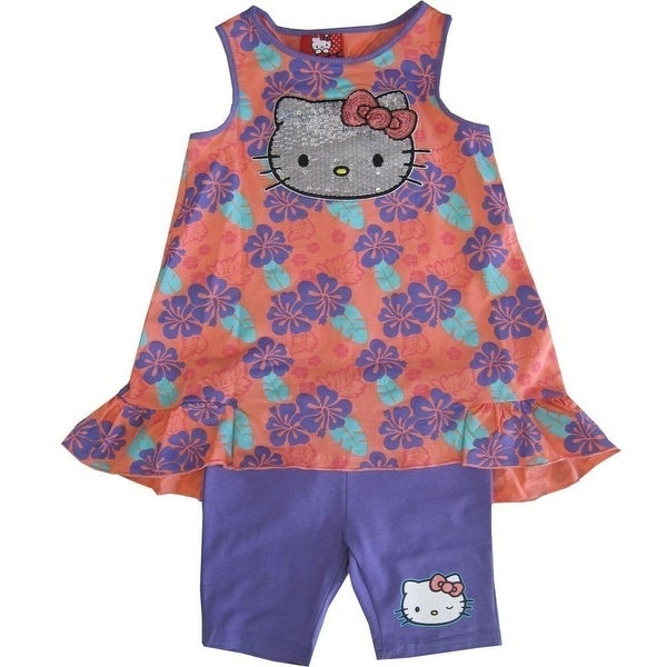 87d758516 Shop Sanrio Little Girls Coral Purple Floral Leaf Glitter Hello Kitty Pant  Set 4-6x - Free Shipping On Orders Over $45 - Overstock - 19293636
