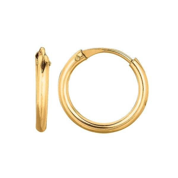 Mcs Jewelry Inc 14 KARAT YELLOW GOLD SMALL ENDLESS HOOP EARRINGS (DIAMETER: 12MM)