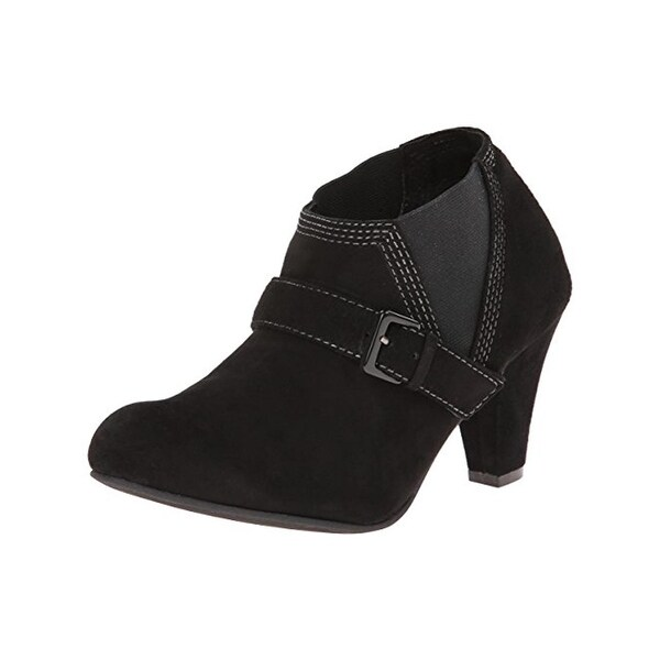 All Black Womens Booties Suede Belted