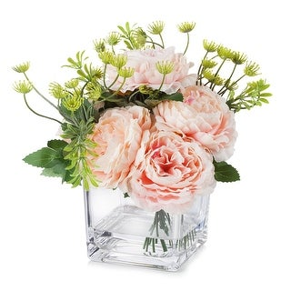 Link to Enova Home Mixed Silk Peony Flower in Cube Glass Vase With Faux Water For Home Decoration Similar Items in Decorative Accessories