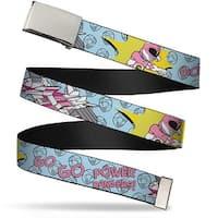 Blank Chrome Buckle Pink Ranger Punch Pose Go Go Power Rangers! Baby Web Belt
