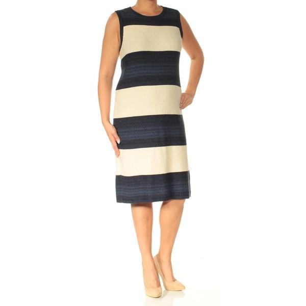 Shop Ralph Lauren Womens Navy Striped Sleeveless Crew Neck