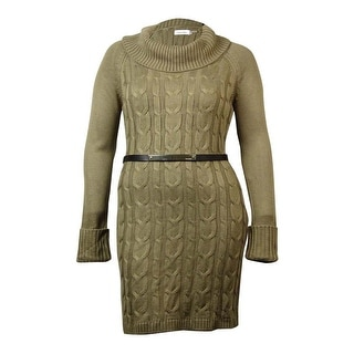 Calvin Klein Women's Belted Cowl Neck Cable Sweater Dress - l