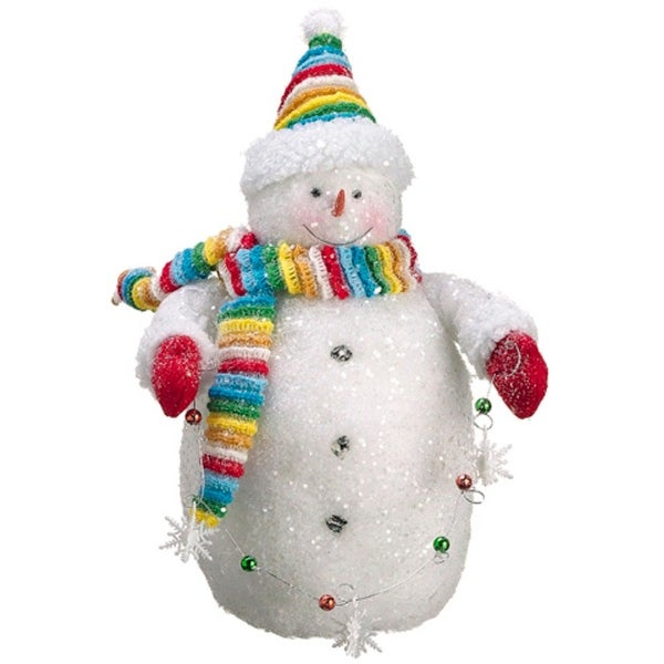 "15"" White and Red Chubby Snowman with Ornaments Strand Christmas Tabletop Figurine"