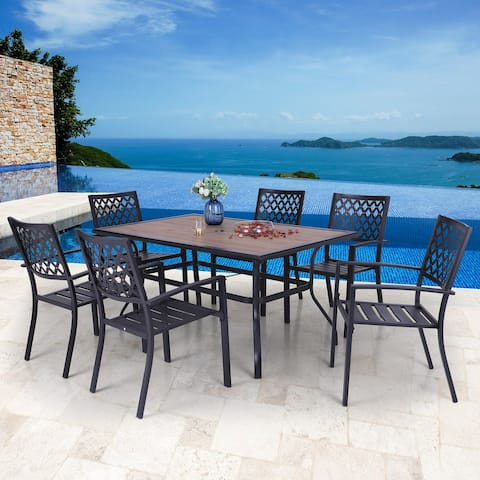 "PHI VILLA 7 Piece Outdoor Patio Furniture 37.4"" x 59.8"" Wood Like Rectangular Dining Table and Stackable Chairs"