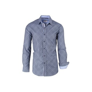 CLEARANCE Gray with Light Gray and Black Lines, Modern Fit, Long Sleeve Sport Shirt by Tiglio Sport SP9009
