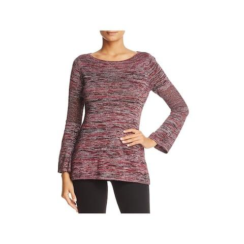 Heather B Womens Brandy Pullover Sweater Mesh Ribbed - Wine/Black - XL