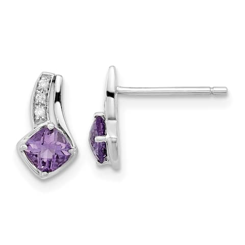 10K White Gold Polished Amethyst and Diamond Earrings by Versil