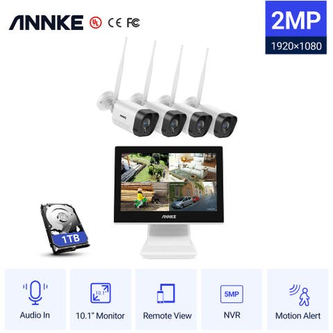 ANNKE 4CH 1080p Full HD Wireless NVR IP Security Camera System with Night Vision Remote Access - With 1TB