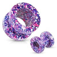 Purple and Pink Splatter 316L Surgical Steel Screw Fit Tunnel (Sold Individually)