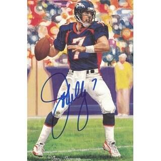 John Elway AutographedSigned Denver Broncos Goal Line Art Card Blue
