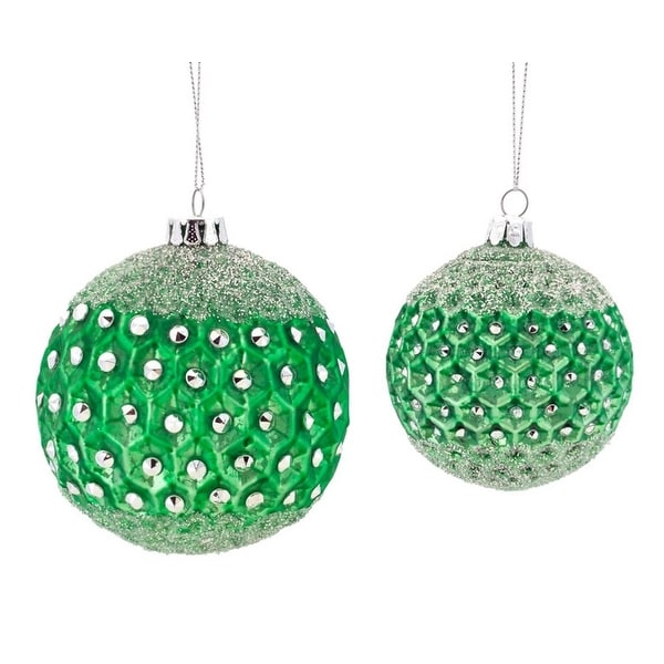 "6ct Emerald Green Frosted Jewel Glass Christmas Ball Ornaments 3.5"" - 4.25"""