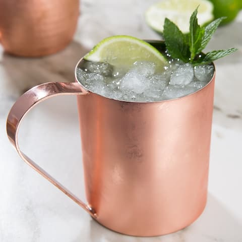 Solid Moscow Mule 100-percent Copper Mugs with Straight Finish 14-ounce with Straight Copper Handle