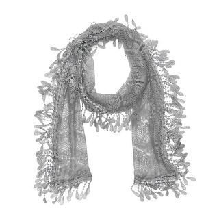 """Women's Sheer Lace Scarf With Fringe - l. gray - 70"""" x 11"""""""
