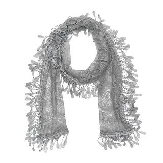 "Women's Sheer Lace Scarf With Fringe - l. gray - 70"" x 11"""