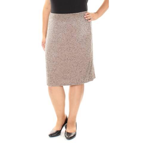 RALPH LAUREN Womens Beige Beaded Knee Length Pencil Wear To Work Skirt Size: 16