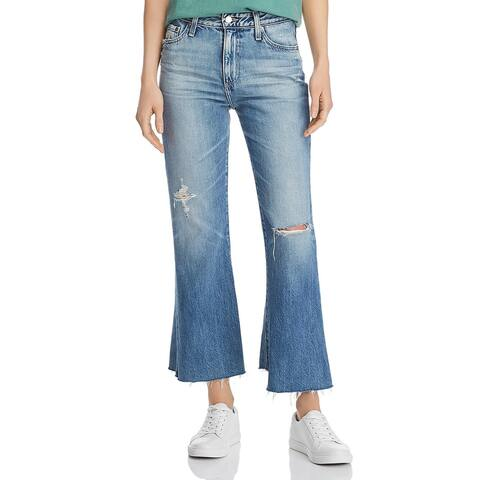 AG Adriano Goldschmied Womens Quinne Cropped Jeans Denim High Rise - Blue