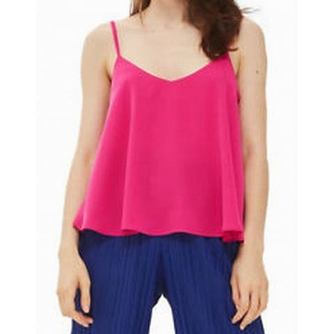 TopShop Fuchsia Pink Womens Size 2 V-Neck Solid Flowy Tank Top