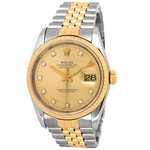 Pre-owned 36mm Rolex 18k Yellow Gold and Stainless Steel Datejust Watch - 7 inches