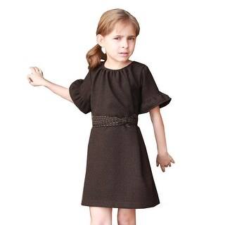A.Bird Girls Brown Flat Tweed Belt Flared Short Sleeve Bess Dress