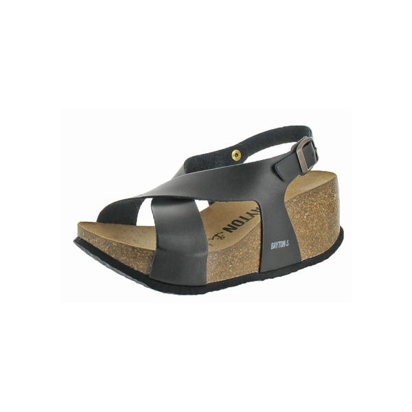 Bayton Womens Rea Wedge Sandals Open Toe Crisscross