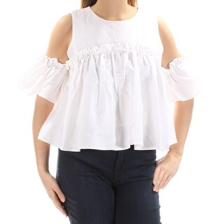 J.O.A. $68 Womens New 1025 Ivory Cut Out Short Sleeve Baby Doll Top L B+B