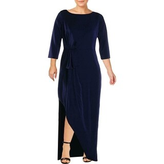 Link to Kay Unger Women's Dress Navy Blue Size 2 Slit Side Ruched Gown Similar Items in Dresses