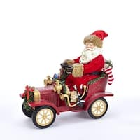 "12"" Musical Santa Claus Driving Vintage Car Christmas Table Top Figurine - RED"