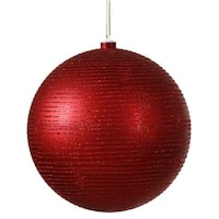"Red Hot Glitter Striped Shatterproof Christmas Ball Ornament 4"" (100mm)"
