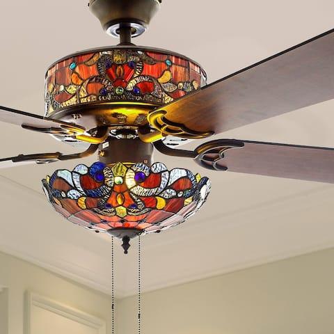 """Copper Grove Guasipati 52-inch Tiffany-style Magna Carta Ceiling Fan - 52""""L x 52""""W x 16.5 - 52""""L x 52""""W x 16.5"""