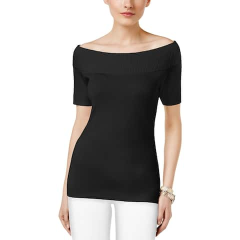 NY Collection Womens Pullover Sweater Off the Shoulder Short Sleeve - M