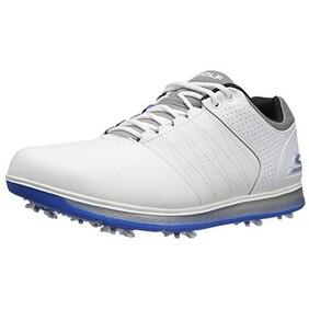 Skechers Performance Men's Go Golf Pro 2 Golf Shoe, White/Gray/Blue, 9 M US - white/gray/blue