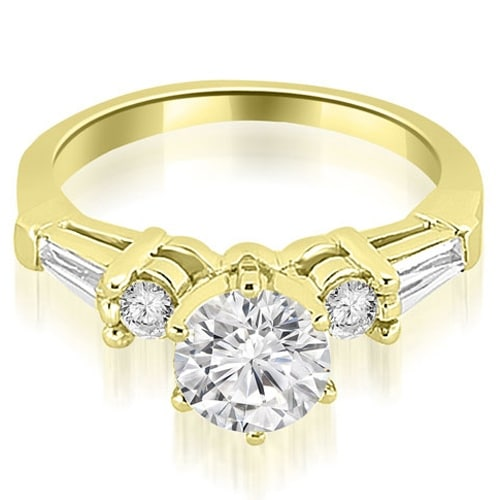 1.10 cttw. 14K Yellow Gold Baguette and Round Diamond Engagement Ring