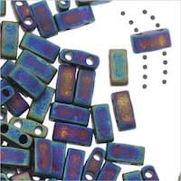 Miyuki Half Tila 2 Hole Rectangle Beads 5x2.3mm - Matte Black AB 7.8 Grams